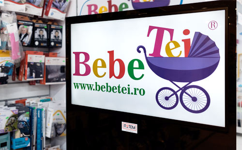 Custom-made digital totems for Bebe Tei drugstore