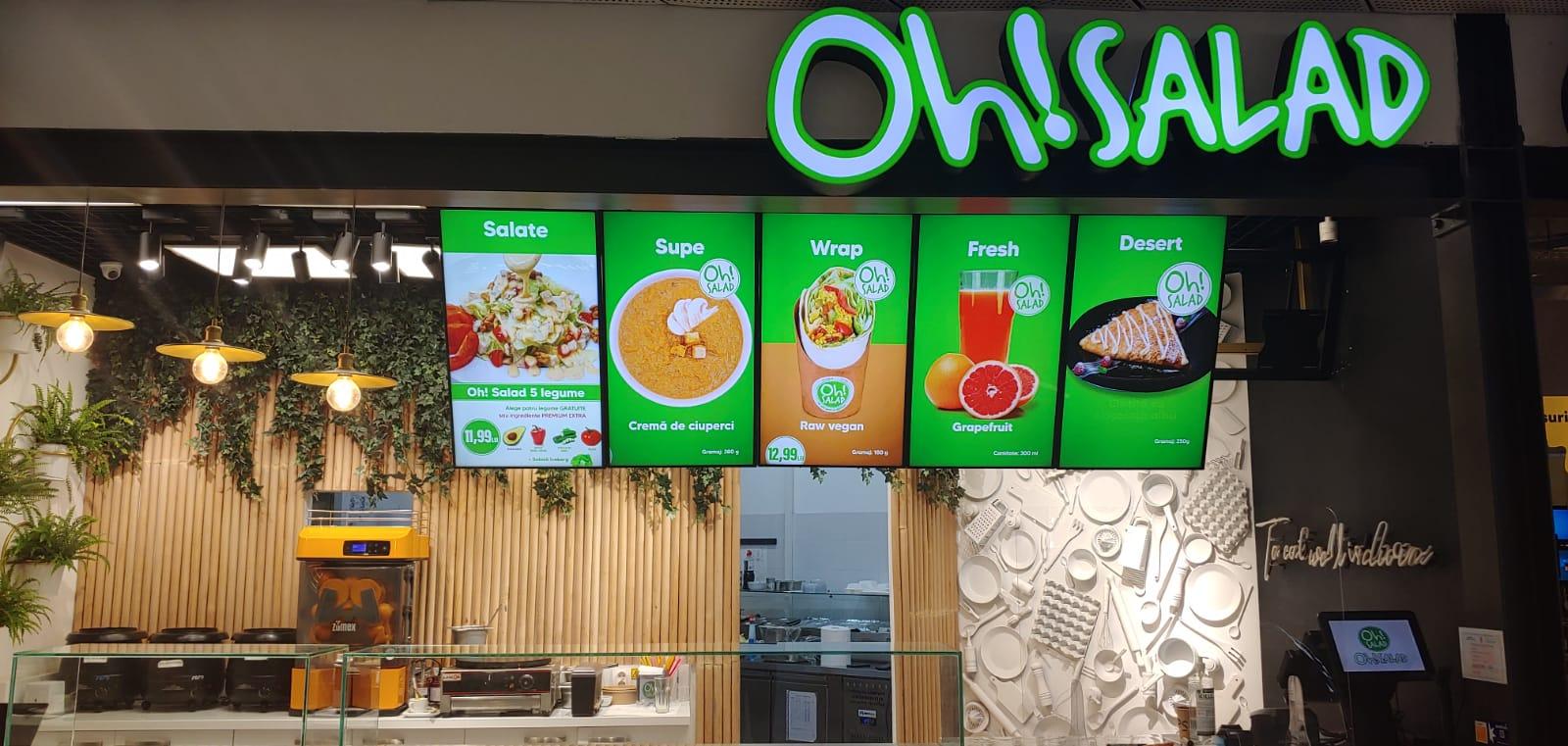 Soluții de digital signage pentru restaurantul Oh!Salad